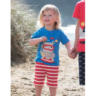 "Little Creature Applique T-Shirt ""Hippo"" - von ""Frugi"", blau, 12-18"