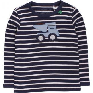 Baby T-shirt Bulldozer stripe navy/cream Größe 68