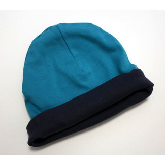 "Wende-Beanie ""Sweat and Denim"", petrol-grau, S"