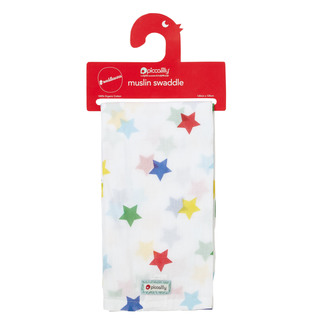 "Muslin Swaddle ""Sterne"" - von ""Piccalilly"", bunt, 120x120"