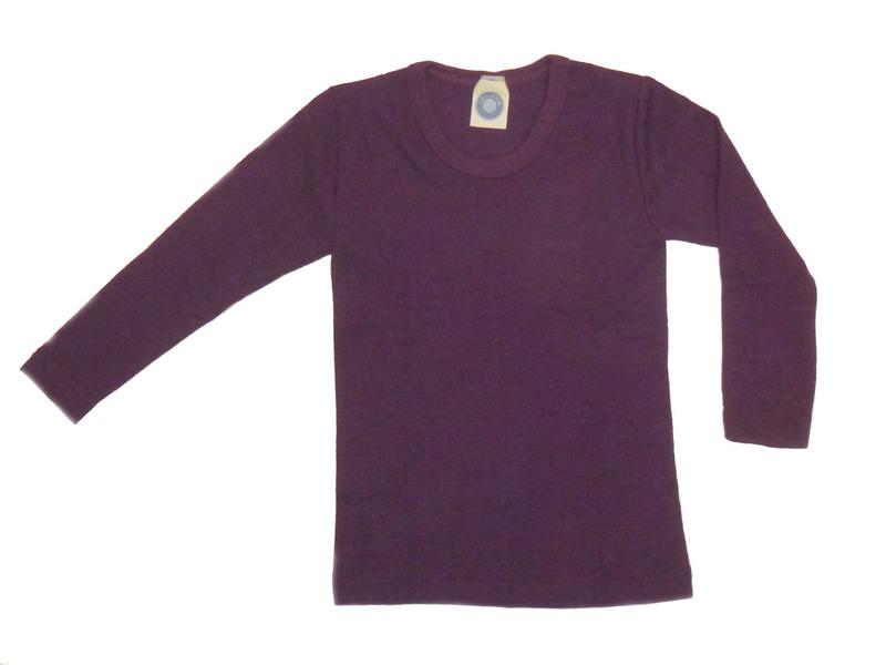 """1e556b745c0bdb Kinder-Unterhemd 1/1 Arm aus Wolle-Seide - von """"Cosilana"""", pflaume, 128"""