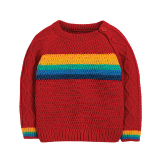 Caleb Cable Knit Jumper, tango red/rainbow, frugi, 6-7 J