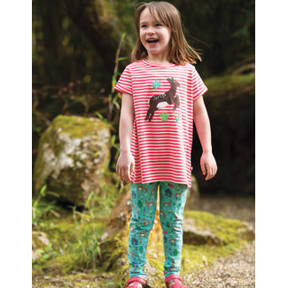 Sophie Applique Top, Watermelon Stripe/Deer, von frugi, 2-3 Jahre