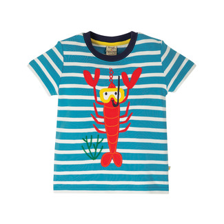 Sid Applique Top, Motosu Blue Stripe, Lobster, von frugi, 4-5 Jahre